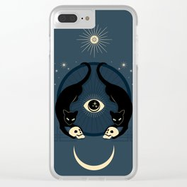 Midnight Cats Doing Their Dark Business Clear iPhone Case