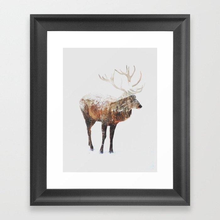 Arctic Deer Gerahmter Kunstdruck