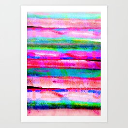 Bohemian styled abstract rainbow painting in pastel pink, blue and green colors Art Print