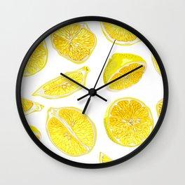 Fresh Lemon Fruit Slices Wall Clock