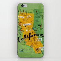 postcard iPhone & iPod Skins featuring Postcard from California by Christiane Engel