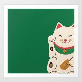 Green Lucky Cat Maneki Neko Art Print