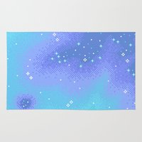 8bit Area & Throw Rugs featuring Twilight Nebula (8bit) by Sarajea