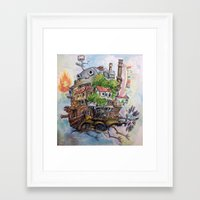 calcifer Framed Art Prints featuring Howls Moving Castle Painting 2 by Little Miss Marikit