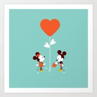 minnie mouse Art Prints featuring Minnie and Mickey Mouse by Pink Berry Patterns