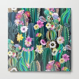 Cactus with flowers Metal Print