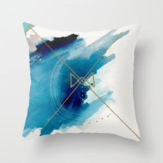 Galaxy Series 3 - a blue and gold abstract mixed media set Throw Pillow