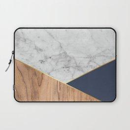 White Marble - Wood & Navy #599 Laptop Sleeve