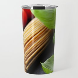 Spaghetti and tomatoes with herbs on an old and vintage wooden table Travel Mug