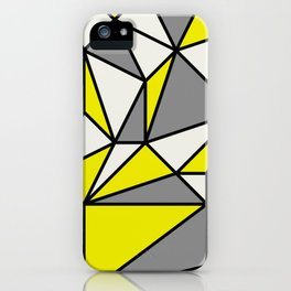 Geometric Scandinavian I - Yellow, Charcoal, black And Cream iPhone Case