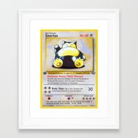 snorlax Framed Art Prints featuring Snorlax Card by Neon Monsters
