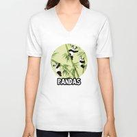 pandas V-neck T-shirts featuring Pandas by Volha