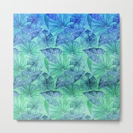 Blue and Ocean Green Summer Tropical Jungle Metal Print