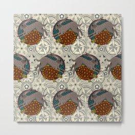 hare tortoise mandala Metal Print