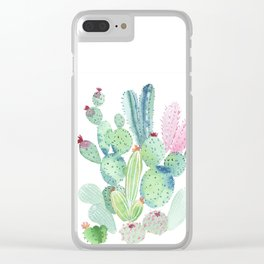 Watercolor Cactus light Clear iPhone Case