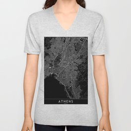 Athens Black Map Unisex V-Neck