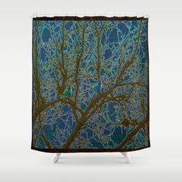 Jeweled Birds In Winter Tree Shower Curtain