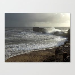 Stormy seas at Hastings harbour arm Canvas Print