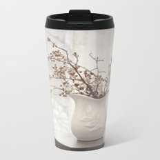 Berries in White Vase Metal Travel Mug