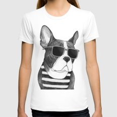 Frenchie Summer Style b&w Womens Fitted Tee White SMALL