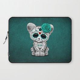 Blue Day of the Dead Sugar Skull Snow Leopard Cub Laptop Sleeve