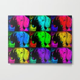 Colorful Pop Art Dachshund Doxie Face Closeup Tiled Image Metal Print