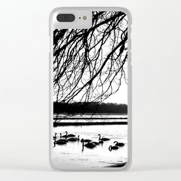Swans in wintertime in the North of theNetherlands Clear iPhone Case