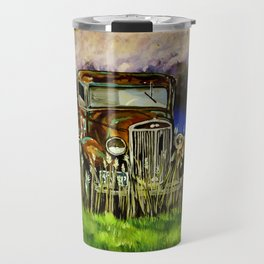 Grandpa's Truck Farm Farmer Ranch Rancher Work Antique Old Rusted Vehicle Stormy Sky Field Clouds  Travel Mug