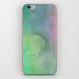 Abstract pink coral teal turquoise watercolor brushstrokes iPhone Skin