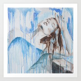 """Morning by the ocean"" original blue painting with woman Art Print"