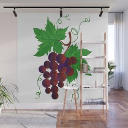 Purple Grapes on vine Wall Mural