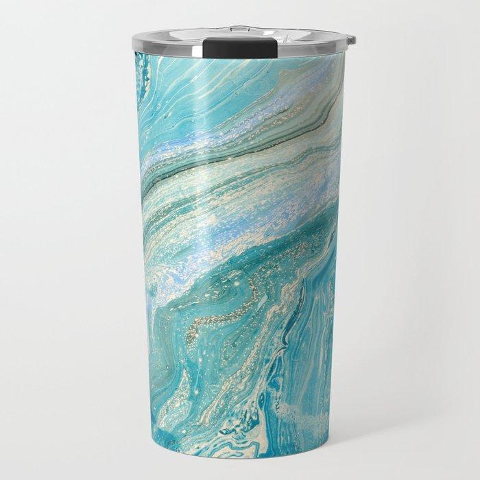 Blue Liquid Marble Travel Mug