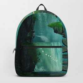 Fantasy island with gazebo floating in space Backpack