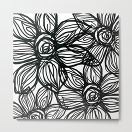 SQUIGGLY FLOWERS Metal Print