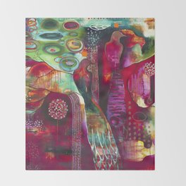 """""""True Nature"""" Original Painting by Flora Bowley Throw Blanket"""