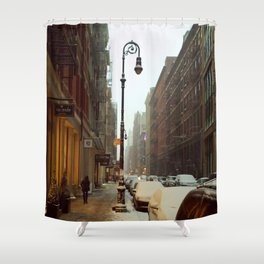 Soho snowing. Winter in New York Shower Curtain