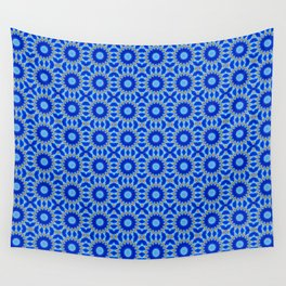 Blue and Yellow Circle Repeating Pattern Wall Tapestry
