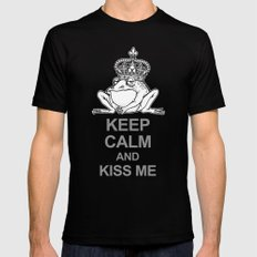 KEEP CALM AND KISS ME! Black Mens Fitted Tee MEDIUM