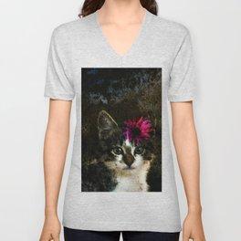 Kitten With Flower Portrait Unisex V-Neck