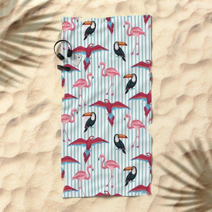 flamingo in tropic mood Beach Towel