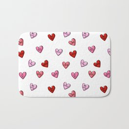 Hearts valentines day candy heart love sayings i love you pattern Bath Mat