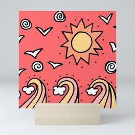 Doodle Art Drawing - Seagulls Rocks and Waves - Coral Pink Mini Art Print