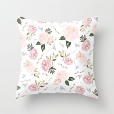 Floral Blossom - Muted Throw Pillow