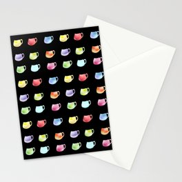Watercolor cups on the black background Stationery Cards