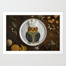 Smart Chef Owl Art Print