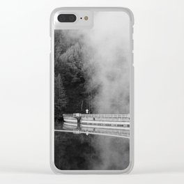 Misty Lake in black and white - 35mm film Clear iPhone Case