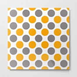 Gray and yellow polka dots Metal Print