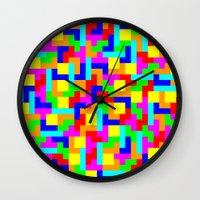 tetris Wall Clocks featuring Tetris by tonilara