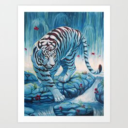 Tiger by the Waterfall Art Print