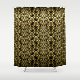 Overlapping Shell Pattern in Gold Shower Curtain